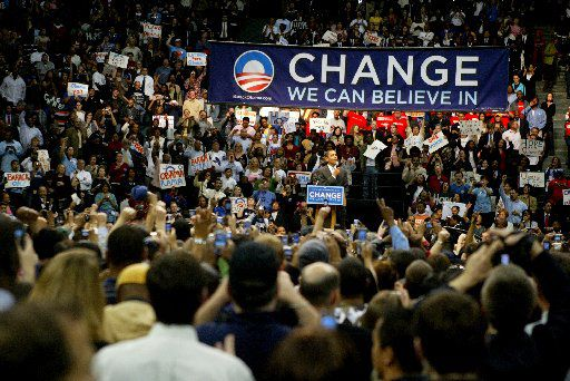 Democratic presidential candidate Barack Obama spoke at a rally at Reunion Arena in Dallas on Feb. 20, 2008.