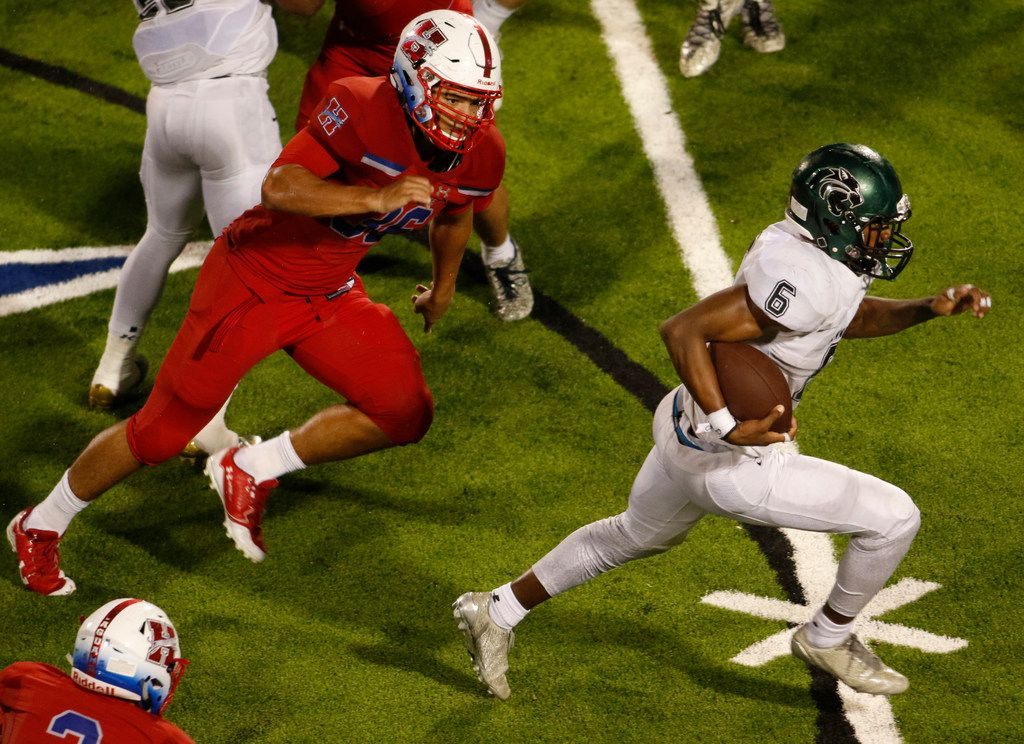 Kennedale running back Antwone Parker (6) bolts into the secondary past the pursuit of Midlothian Heritage linebacker Connor Jones (36) during a second half rush. The two teams played their non-district  football game at Midlothian ISD Stadium in Midlothian on September 7, 2018. (Steve Hamm/ Special Contributor)