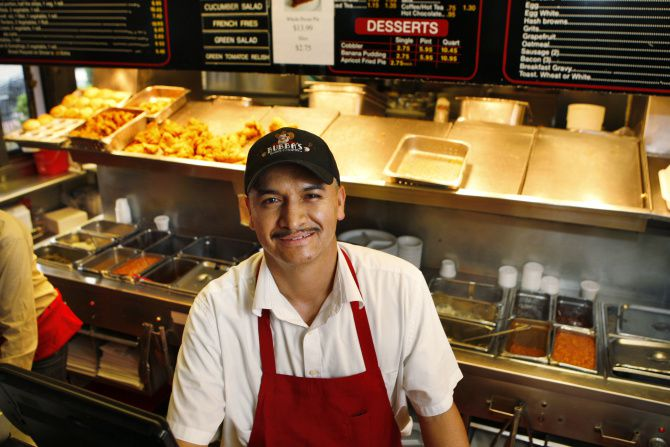 Long time Bubba's Cooks Country employee Antonio Montes, photographed 4-18-13, at the Snider Plaza restaurant.