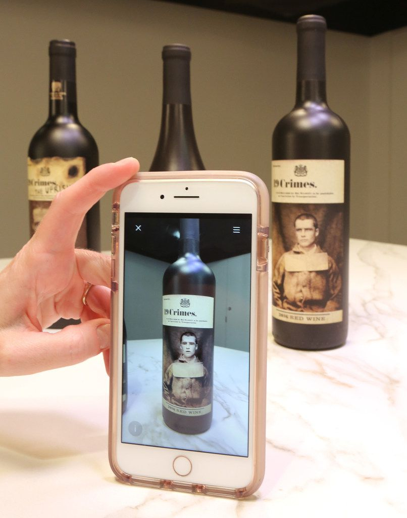 With the aid of AR technology, some wine bottles, like these 19 Crimes bottles, now have labels that come to life via your smartphone.
