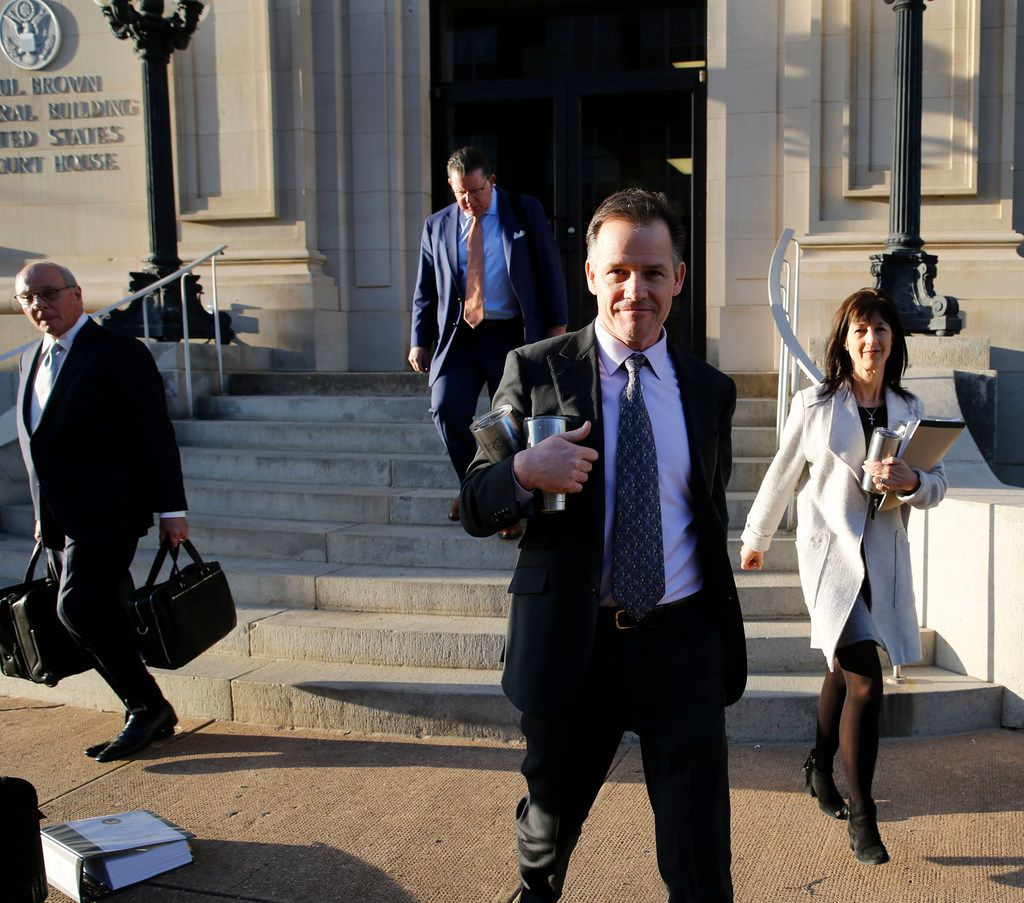 Mark Jordan and former Richardson Mayor Laura Jordan leave the Paul Brown Federal Building United States Courthouse in Sherman, Texas on Tuesday, February 12, 2019. Prosecutors say Laura Jordan accepted money, gifts and other favors from Mark Jordan in exchange for voting for a controversial rezoning involving his large apartment development in the city.