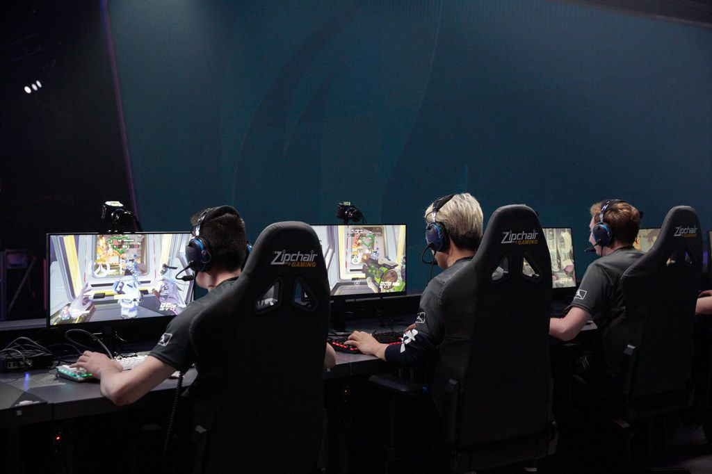 Pro gamers of the Dallas Fuel compete against Hangzhou Spark in Burbank, Calif. on Thursday, Aug. 15, 2019. The Hangzhou Spark won 3-1. (Liz Moughon/Special Contributor)