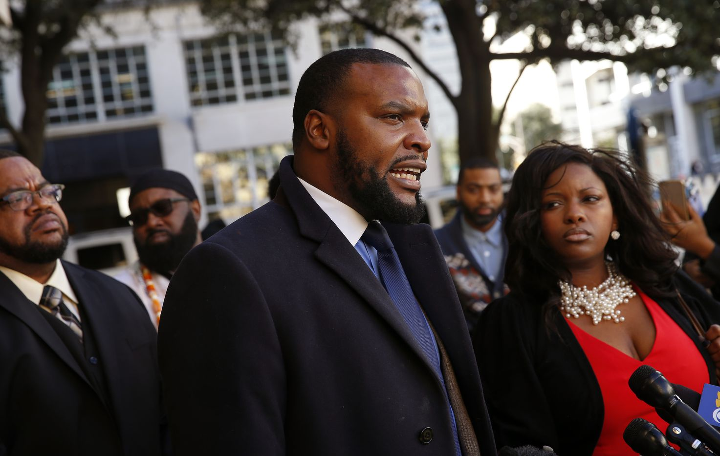 Craig family attorney Lee Merritt speaks at a press conference outside Fort Worth City Halas he was joined by religious leaders and a family member following Fort Worth Chief Joel Fitzgerald's decision to to suspend his officer for 10 days.  (Tom Fox/The Dallas Morning News)