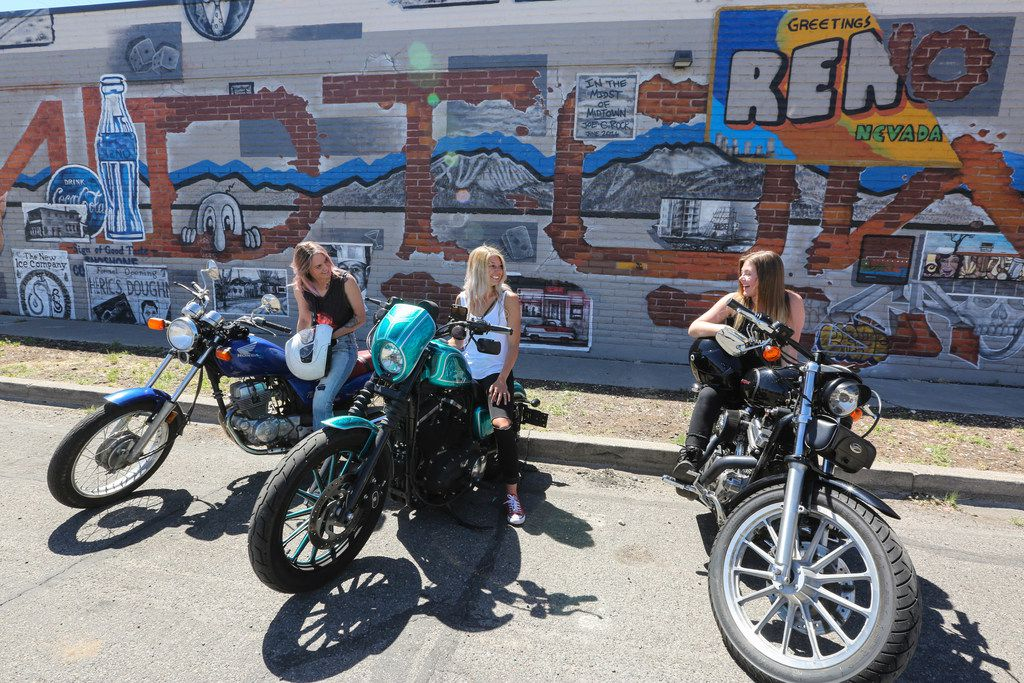 Motorcyclists convene in Reno's Midtown District, which offers a diverse jumble of independent retailers and services, including high-end and vintage clothing boutiques, record stores, wine bars, hipster taverns, poke bars and acai cafes.