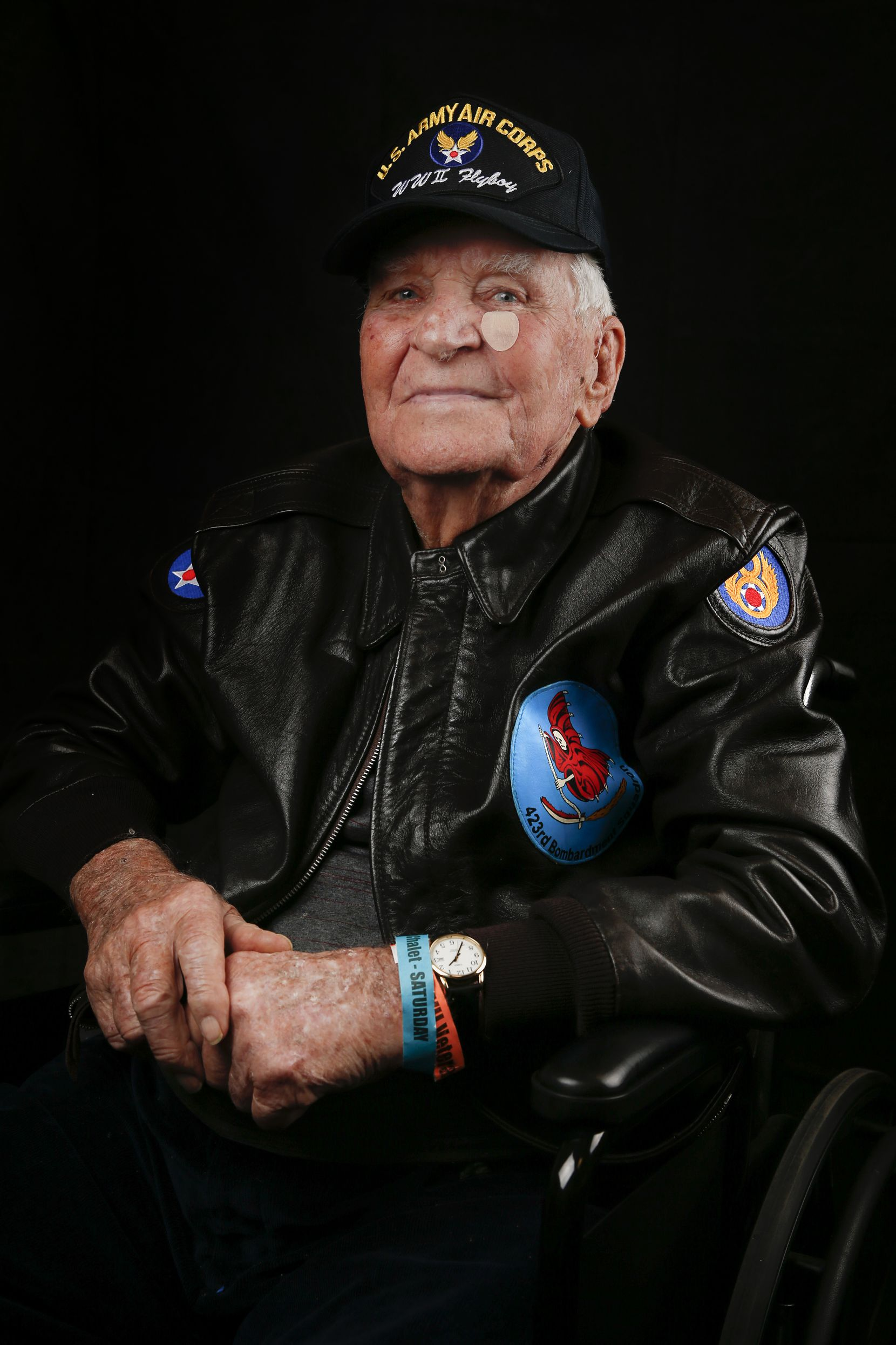 Pete Goodwin, 100, of Lakeside, Texas, a chief master sergeant who served as a World War II B-17 flight engineer in the 8th Air Force, is photographed during the Wings Over Dallas Airshow on Saturday, Oct. 26, 2019 in Dallas.