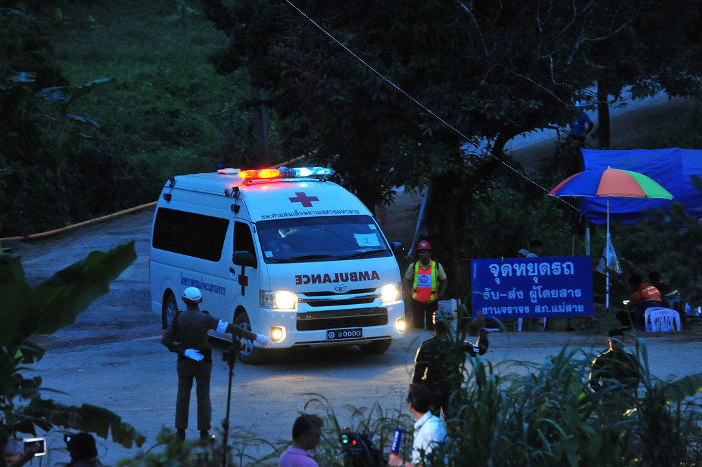 An ambulance taking a rescued boy heads for a local hospital in Chang Rai, Thailand. By Tuesday evening, all 12 boys and their soccer coach were rescued from the cave.