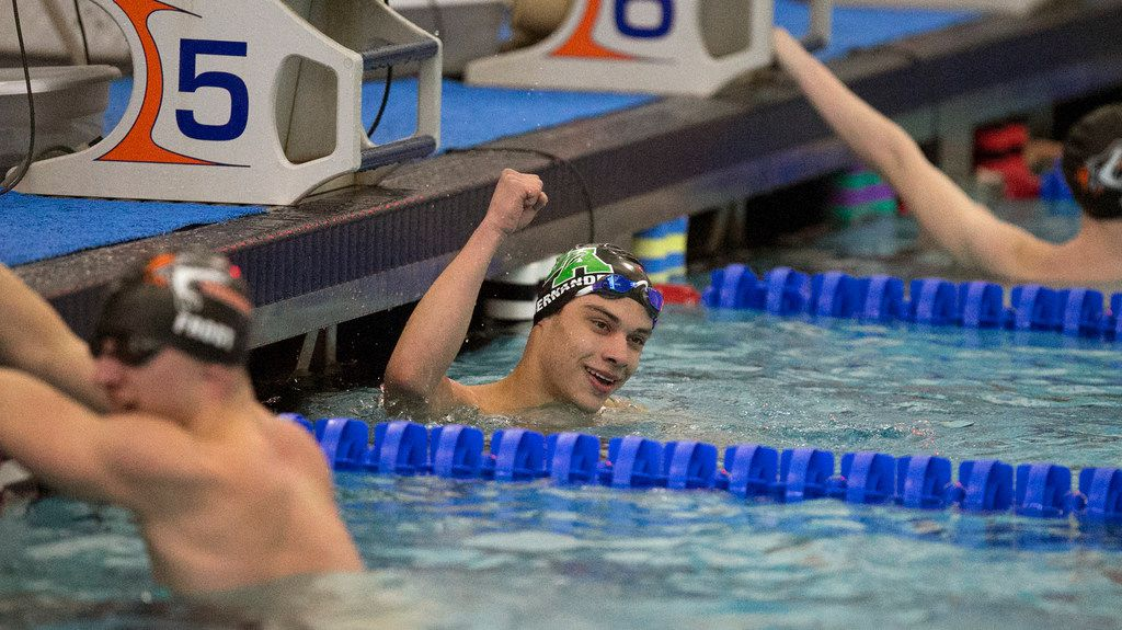 Bryan Adams High School student Michael Hernandez celebrates his finish in the 50 yard freestyle at the Region IV, Class 5A Championships held at the LISD Aquatics Center in Lewisville on Saturday February 2, 2019.  (Stewart F. House/Special Contributor)