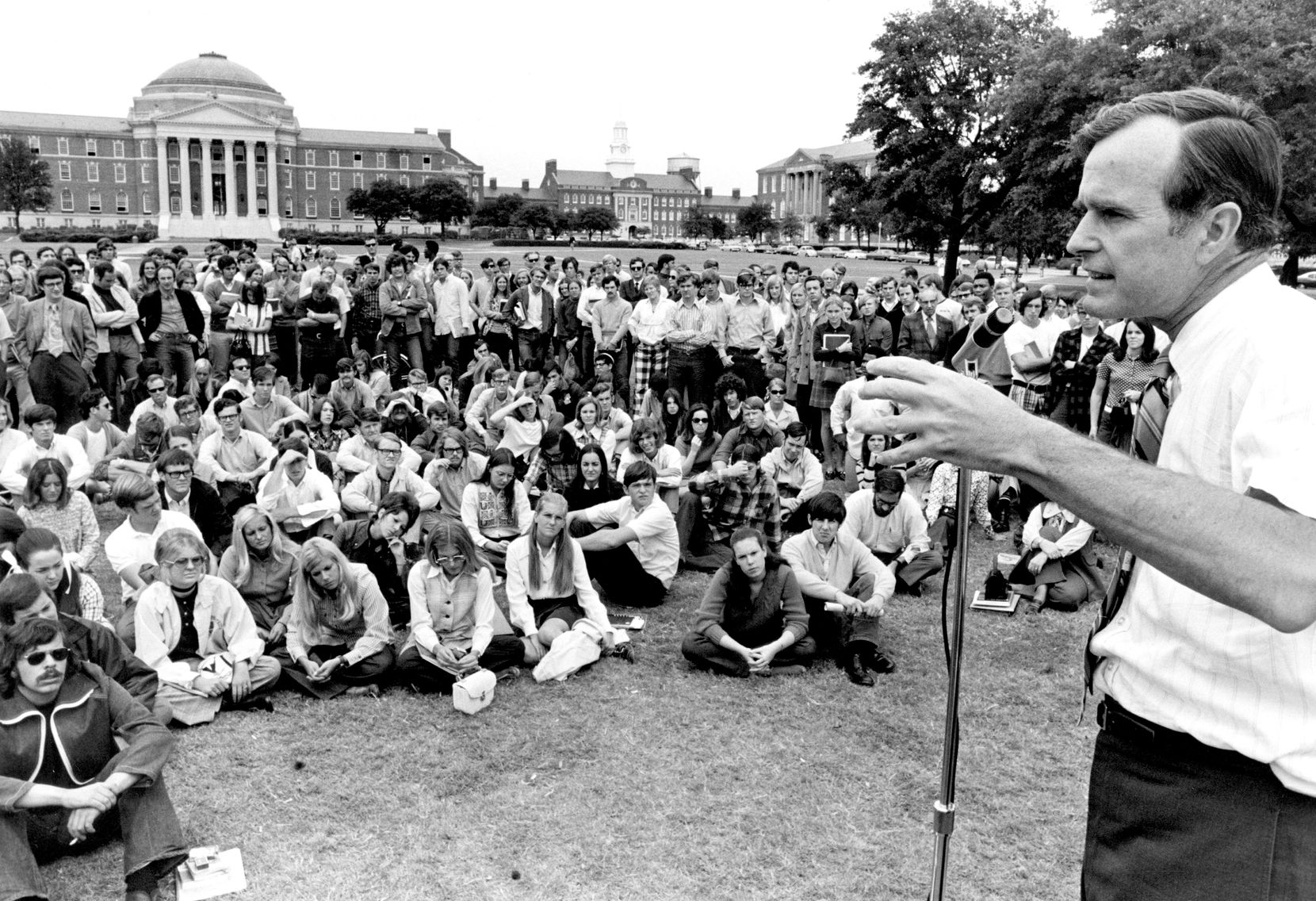 1970: U.S. Congressman George Bush speaks to students on the SMU campus during his run for a Republican Senate seat, a race that he lost. Bush was a U.S. congressman from Texas from 1966 to 1970.