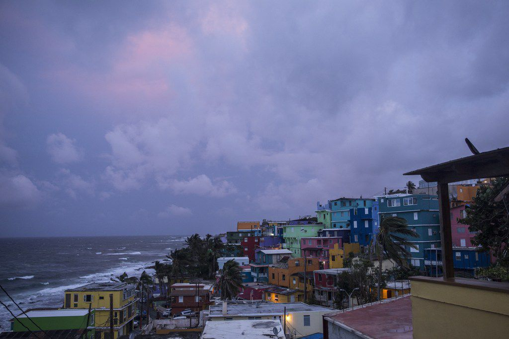 """SAN JUAN, PUERTO RICO - SEPTEMBER 19:  The La Perla neighborhood in Old San Juan as residents prepare for a direct hit from Hurricane Maria on September 19, 2017 in San Juan, Puerto Rico. Puerto Rico Gov. Ricardo Rossello is saying Maria could be the """"most catastrophic hurricane to hit"""" the U.S. territory in a century. (Photo by Alex Wroblewski/Getty Images)"""