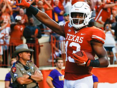 Texas Longhorns wide receiver Brennan Eagles (13) celebrates after scoring during the second quarter of a college football game between the University of Texas and Louisiana State University on Saturday, Sept. 7, 2019 at Darrell Royal Memorial Stadium in Austin, Texas.