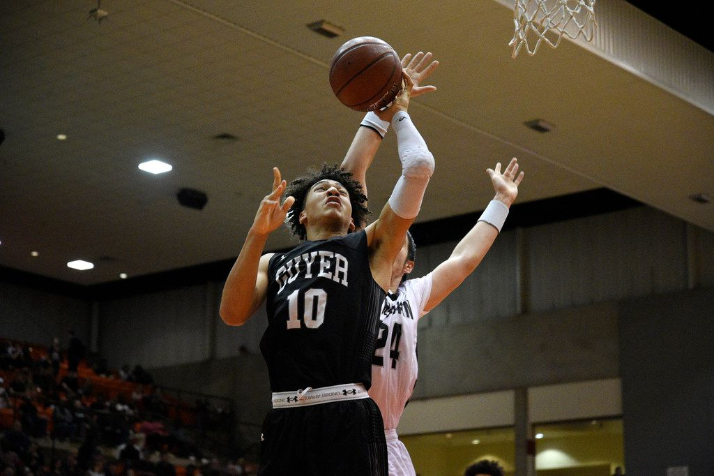 Guyer junior guard Jalen Wilson (10) shoots the ball against Odessa Permian Basin. Denton Guyer triumphed over Odessa Permian Basin 58-48 at the Wilkerson Greines Athletic Center in Fort Worth on Friday. , Friday, March, 2, 2018, Wilkerson Greines Athletic Center in Fort Worth, Texas. Jake King/DRC ORG XMIT: txder