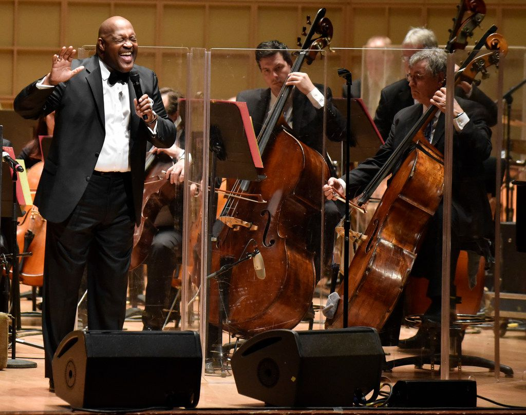 Marvin Winans sings with the Dallas Symphony Orchestra during a performance of Gospel Goes Classical, Feb. 7, 2019 at the Morton H. Meyerson Symphony Center in  Dallas.