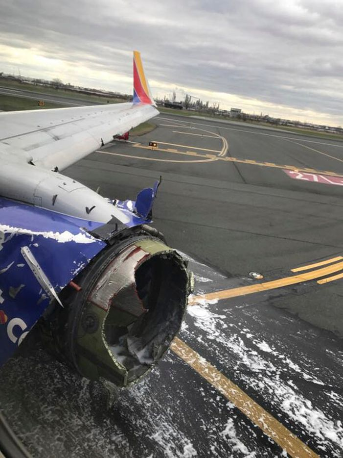 Passenger Marty Martinez snapped this photo of the engine casing of the Southwest Airlines plane after Tuesday's emergency landing in Philadelphia.