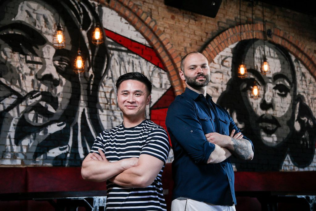 Co-Owners Tan Mai, left, and Alex Hines pose for a photo at Off The Cuff in Deep Ellum, Thursday, April 18, 2019. (Brandon Wade/Special Contributor)