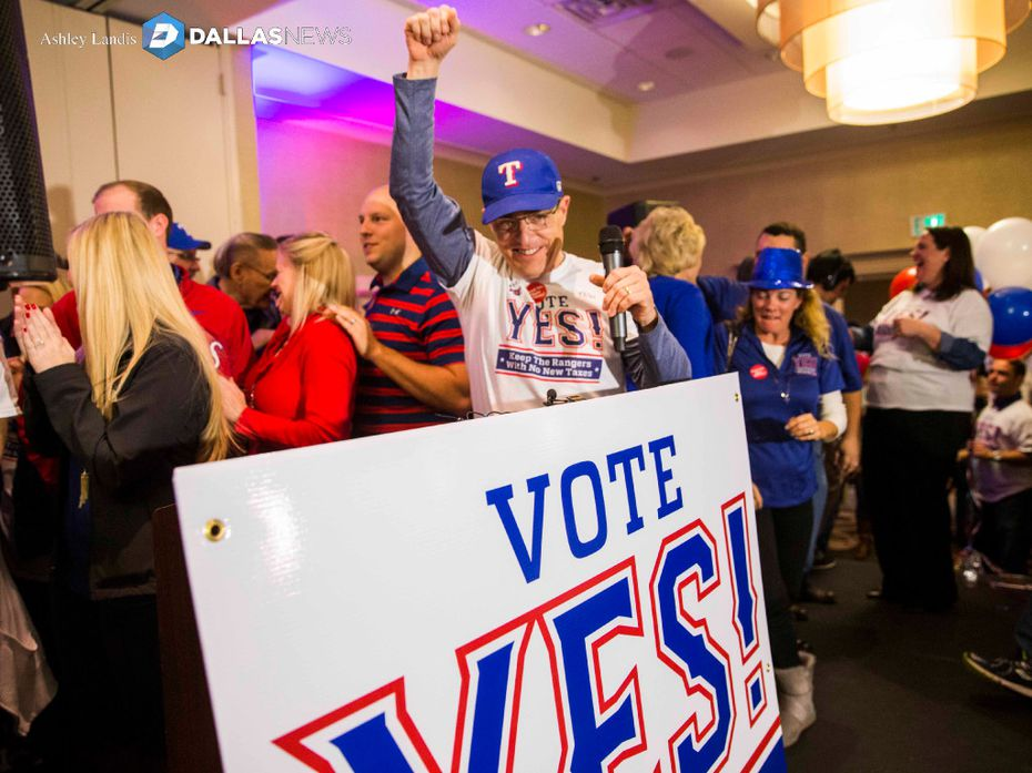Campaign co-chair Kelly Curnutt and other supporters of a proposed new stadium for the Texas Rangers celebrate after early voting gave them an advantage on Tuesday, November 8, 2016 at the Hilton Arlington in Arlington, Texas.  (Ashley Landis/The Dallas Morning News)