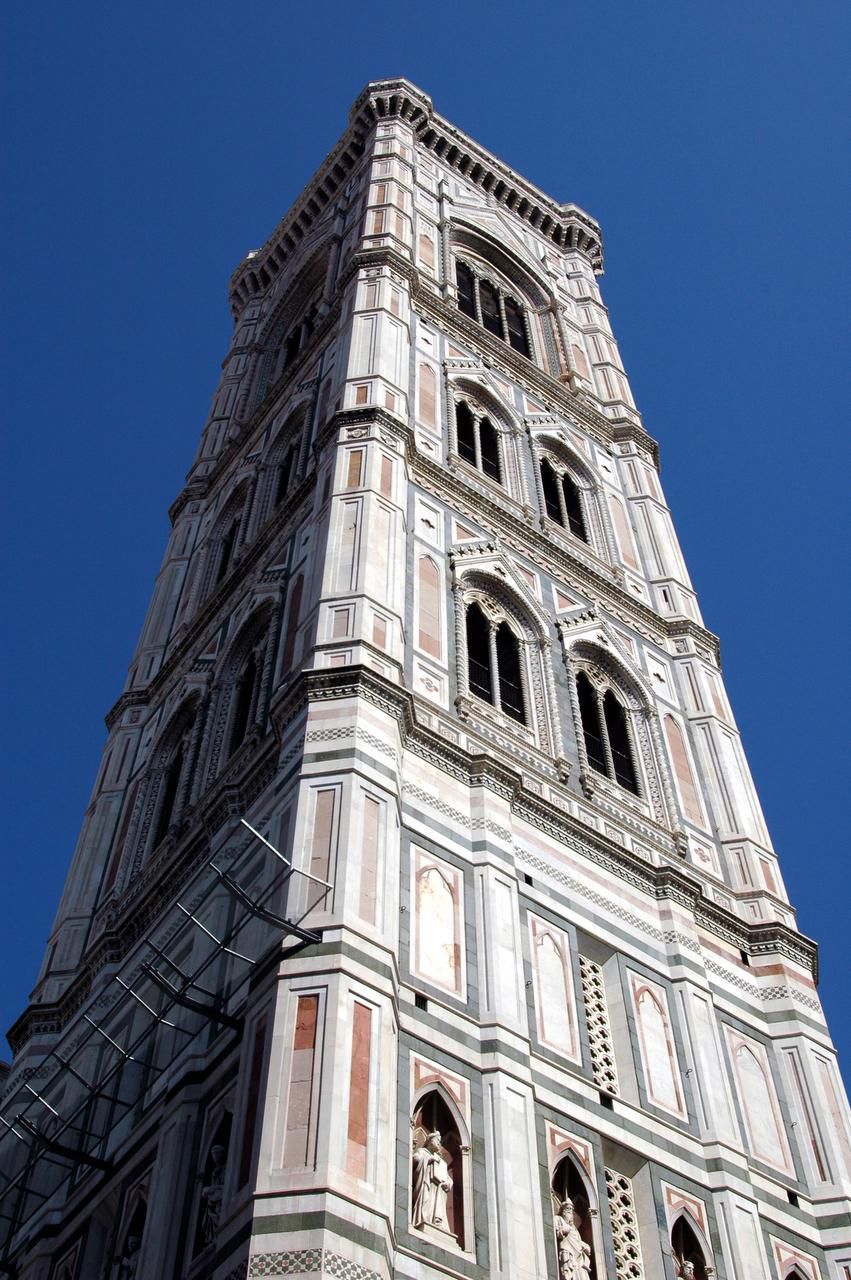 The bell tower of the duomo in Florence glows in soft, muted colors.