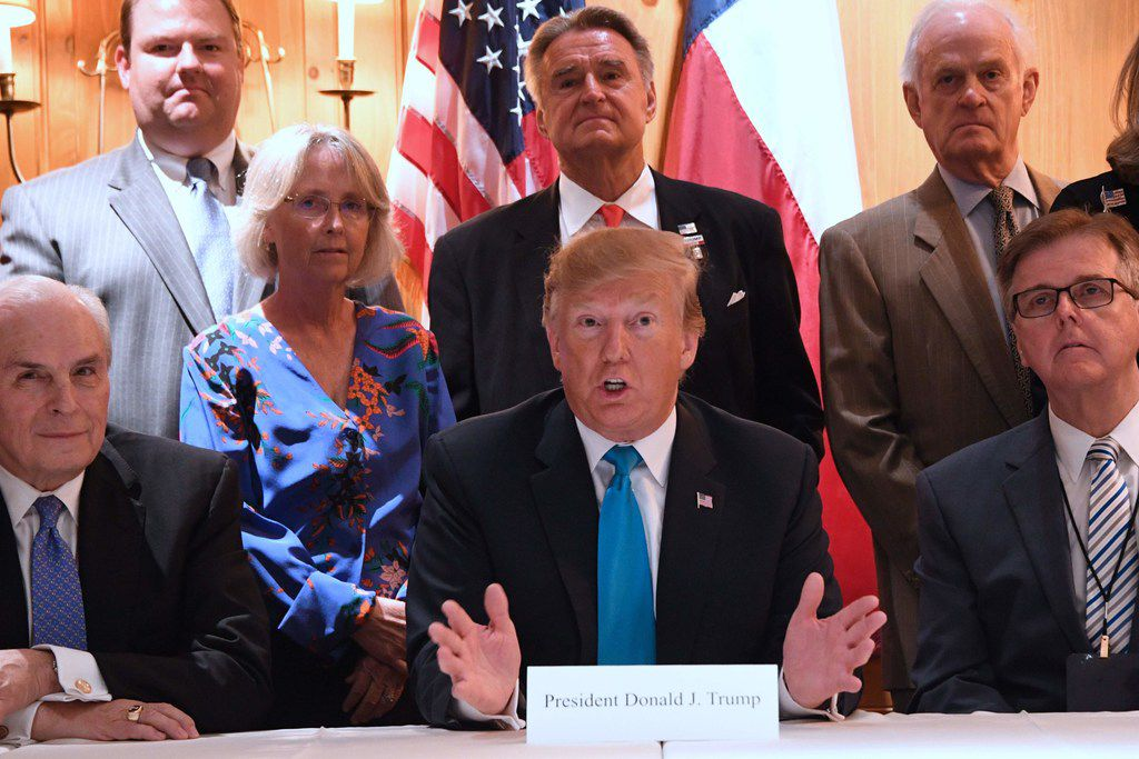 President Donald Trump spoke during a round table with supporters in San Antonio on Wednesday. At right is Lt. Gov. Dan Patrick.