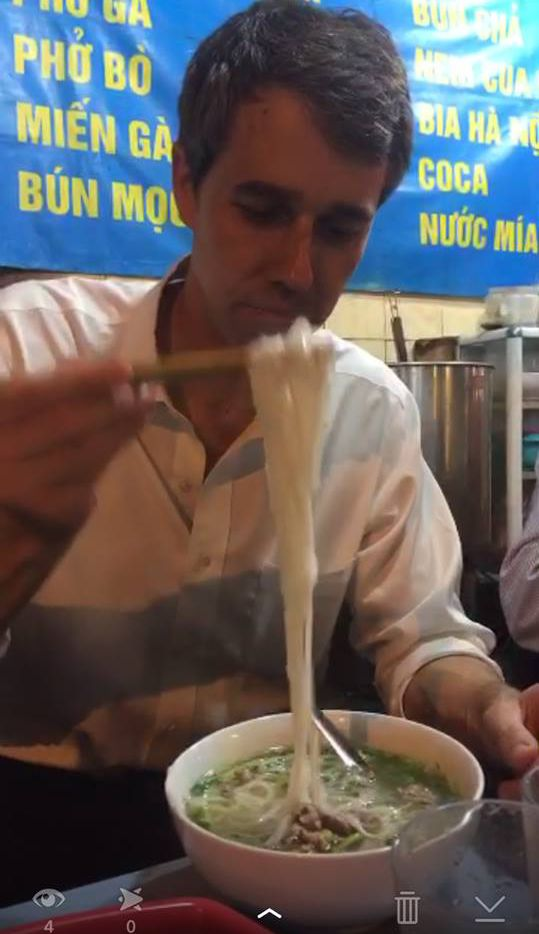 Rep. Beto O'Rourke, D-El Paso, dines on pho in Hanoi during a trip to Vietnam with President Obama on May 23, 2016.