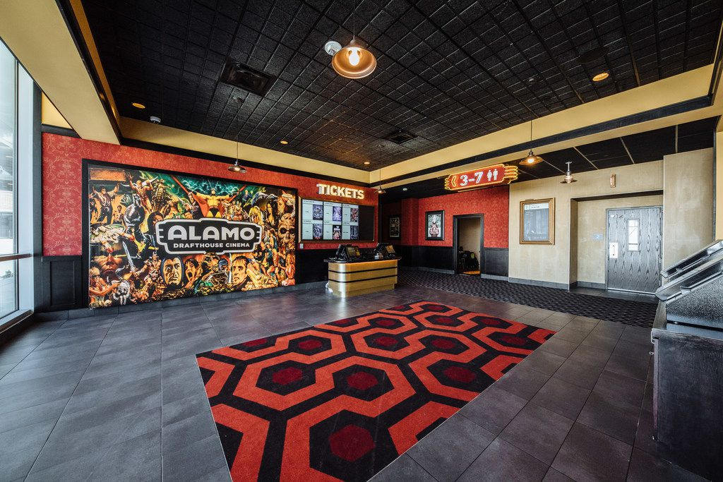 The lobby of the Alamo Drafthouse Las Colinas, part of the Toyota Music Factory entertainment complex.