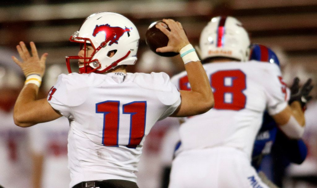 Richardson Pearce quarterback Bo Brewer (11) gets off a pass during first quarter action against Duncanville. The two teams played their District 8-6A football game at Duncanville High School's Panther Stadium on October 19, 2018. (Steve Hamm/ Special Contributor)