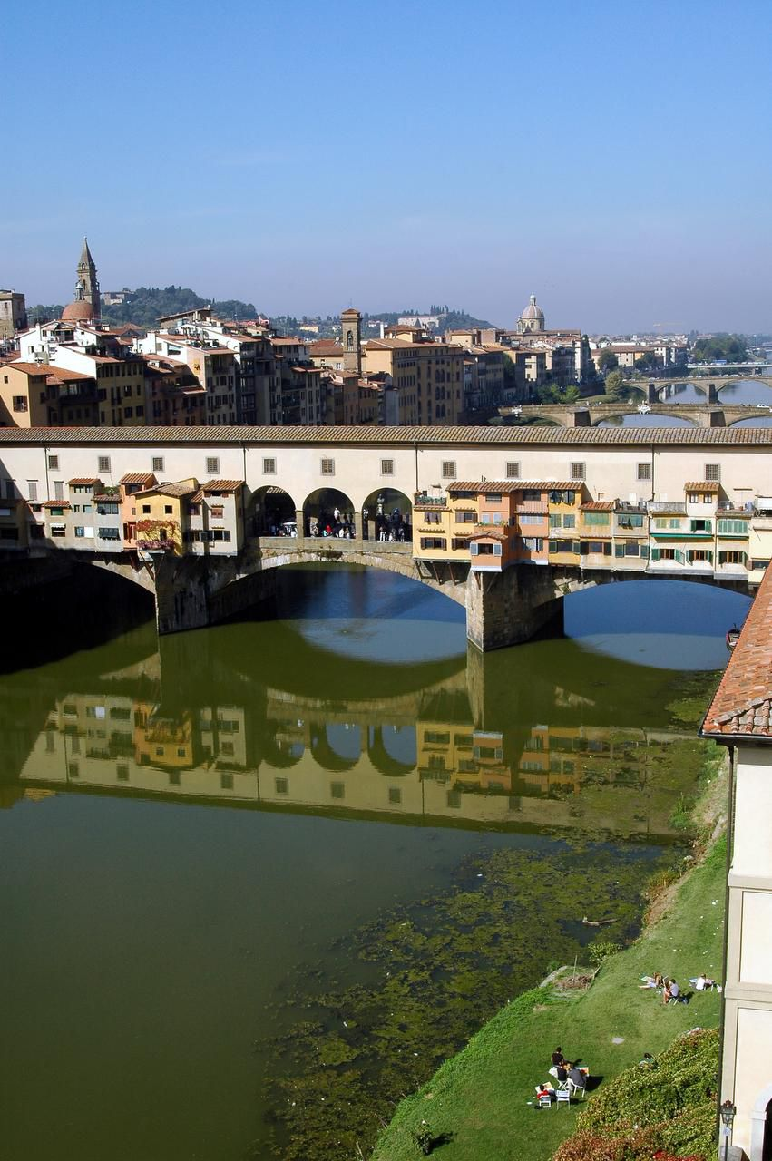 The colorful bridge,  Ponte Vecchio, can be seen from the Uffizi Gallery in Florence.