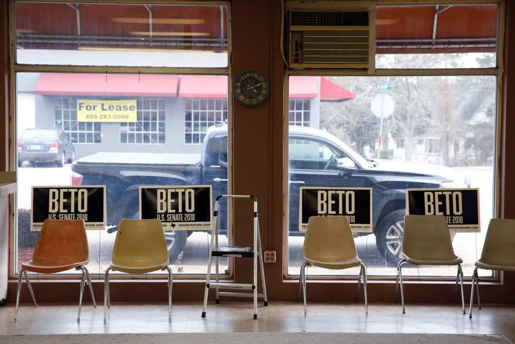 Campaign signs for Beto O'Rourke at the Emporium for the Arts in Woodville, Texas on Feb. 9, 2018. O'Rourke is running for the U.S. Senate. (Nathan Hunsinger/The Dallas Morning News)