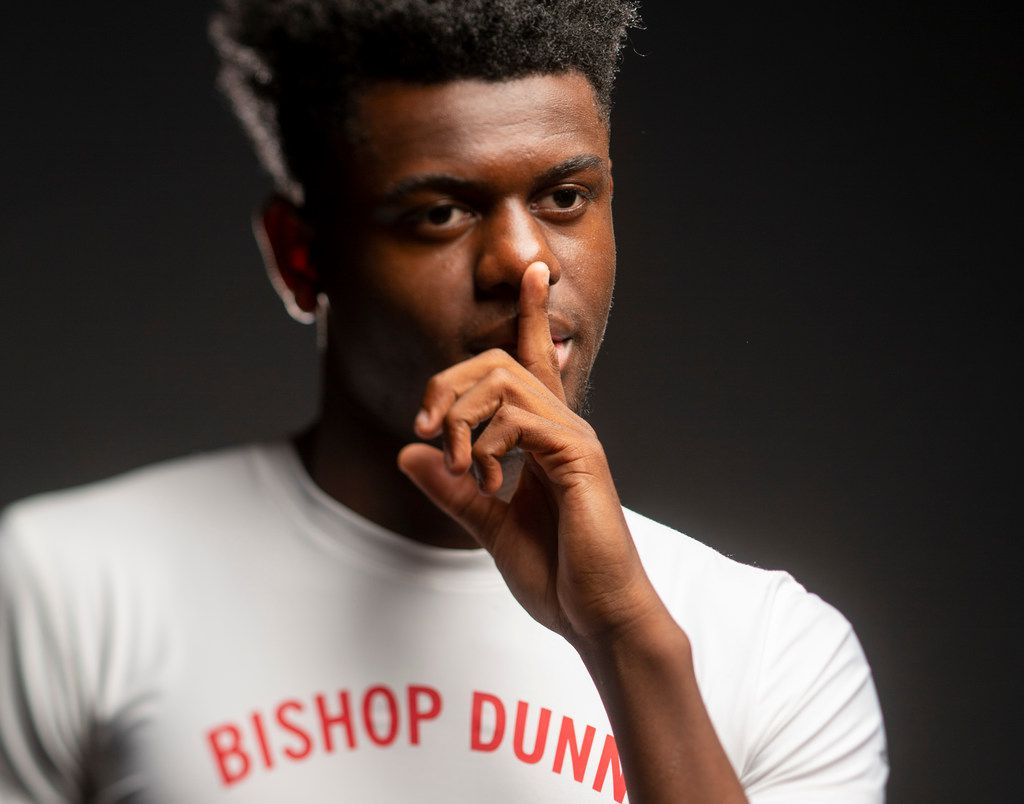 Cam Miller poses for a photograph in The Dallas Morning News studio Thursday, May 23, 2019. Miller is TDMN's 2019 male athlete of the year. Miller is also a state champion in the 200-meters sprint, 4x100 and 4x400-meter relays. (Shaban Athuman/Staff Photographer)