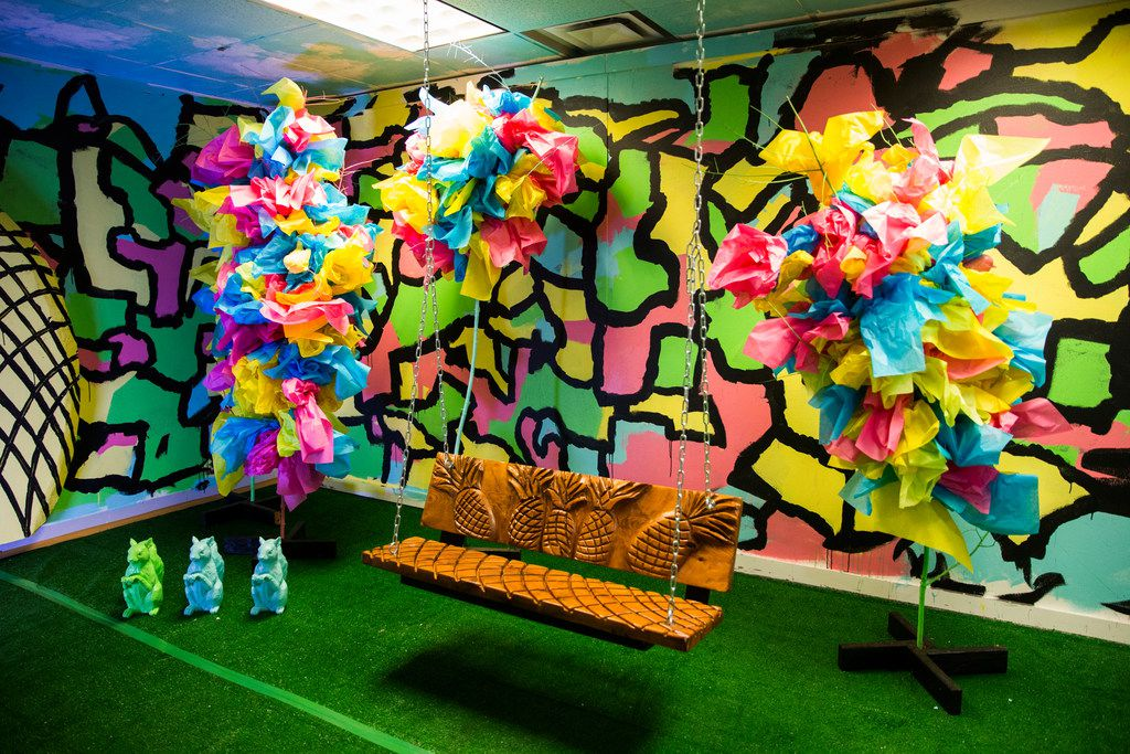 This room is called Pineapple Park and created by The Fixer. It's part of the colorful fun at Psychedelic Robot in Dallas.