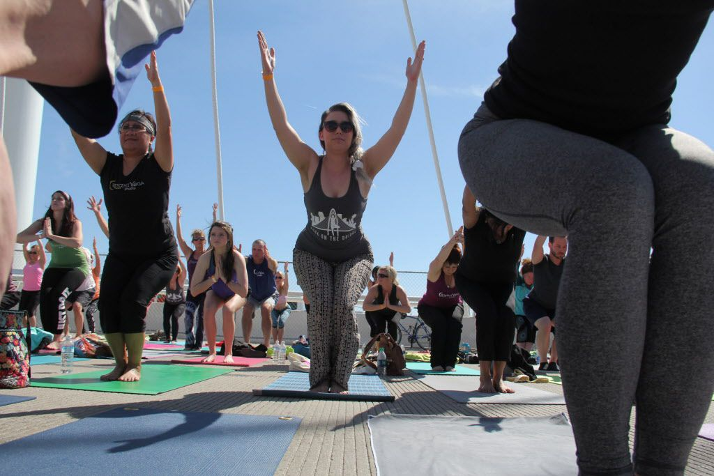 All Out Trinity hosted Dallas' fourth annual Yoga on the Bridge event on March 4, which took place on Dallas' Margaret Hunt Hill Bridge and benefited the Trinity Commons Foundation.