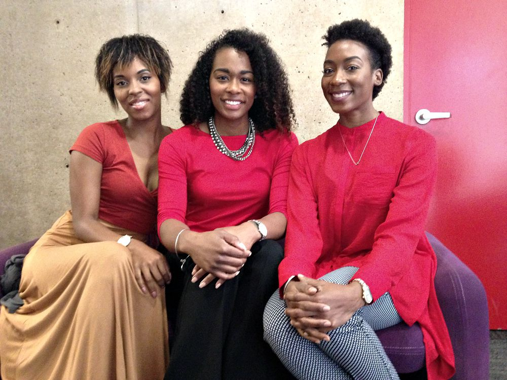 Stephanie Tavares (from left), Traci Burst and Ashley Jordan went to Dallas City Hall on Wednesday to allege that they were not allowed into the Trophy Room in Uptown because of the color of their skin.