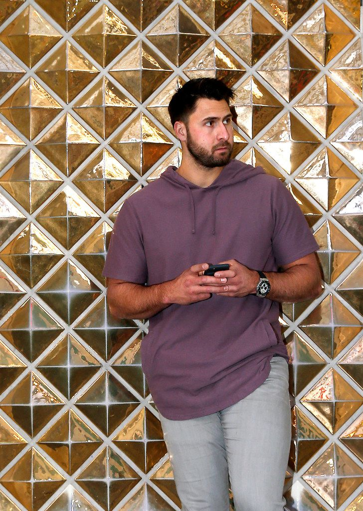 Texas Rangers first baseman Joey Gallo poses for a photograph on the Fremont Street area in Las Vegas, Monday, Jan. 15, 2018. (Jae S. Lee/The Dallas Morning News)