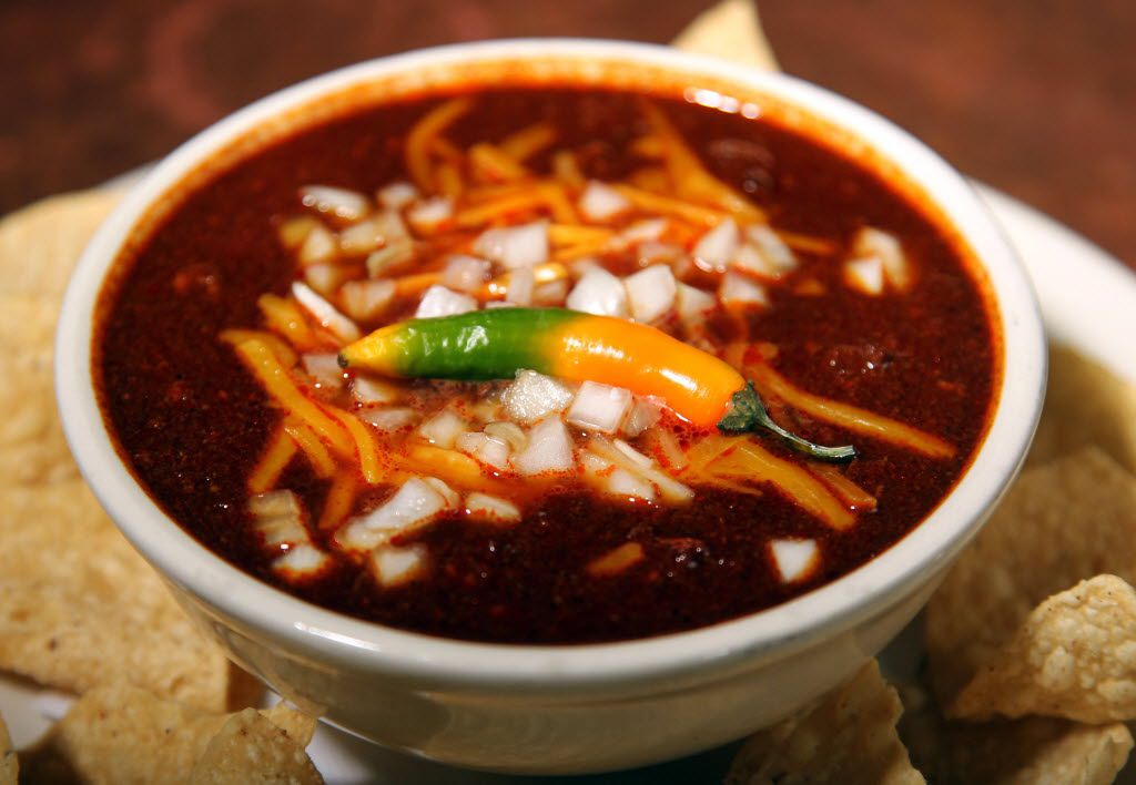 """Original """"Texas Red""""  Chili at Tolbert's Restaurant  on Main Street in Grapevine, Texas on Sept 22, 2011.  (Michael Ainsworth/The Dallas Morning News) ORG XMIT: DMN1109221343494936 01092015xCFPVisitorsGuide"""