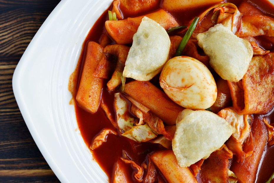 Tteok-bokki, spicy stir fried rice cake with veggies and fish cake, is also on the menu at BCD Tofu House.