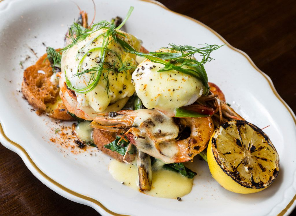 State of Grace, possibly the best brunch spot in Houston, is a welcome addition to the River Oaks scene. Grilled shrimp topped with poached eggs is just one lovely way to go.