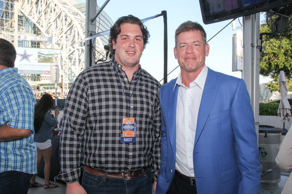 RJ Dill and Troy Aikman at Taste of the NFL.