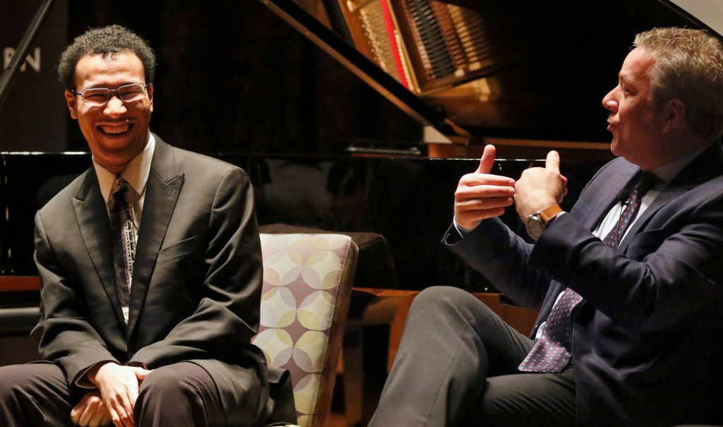 "Cliburn pianist Clayton Stephenson (left) and Cliburn CEO Jacques Marquis speak during the Morning News' first ""Duets"" event held at the Dallas Public Library in Dallas on Tuesday, March 5, 2019. ""Duets,"" a live-conversation program offered exclusively to subscribers, was hosted by host Scott Cantrell, Dallas Morning News contributing classical music critic, not pictured. (Daniel Carde/The Dallas Morning News)"