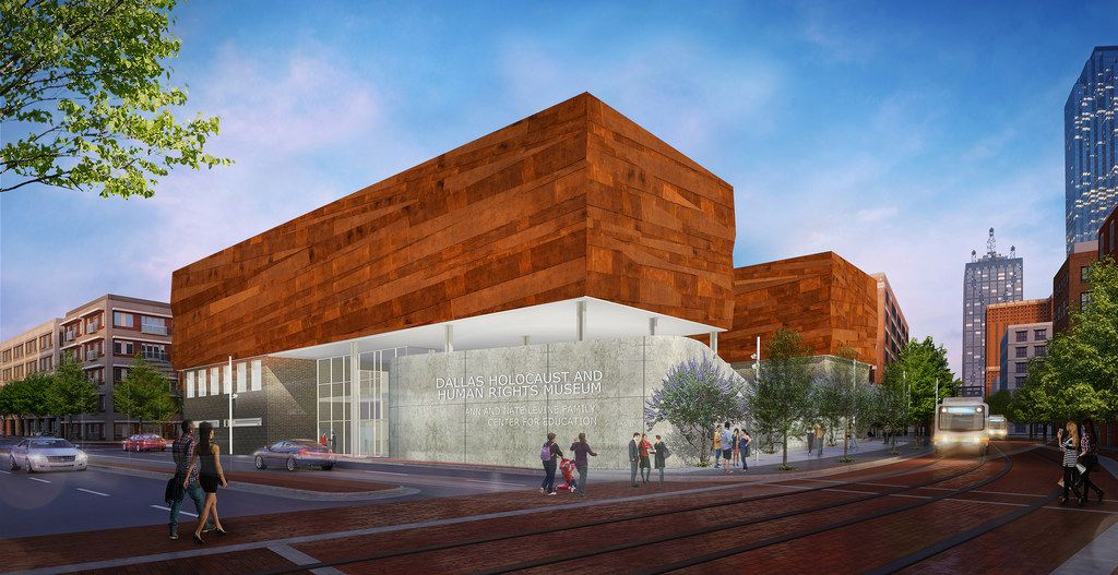 A conceptual rendering of the exterior of the future new Dallas Holocaust and Human Rights Museum.