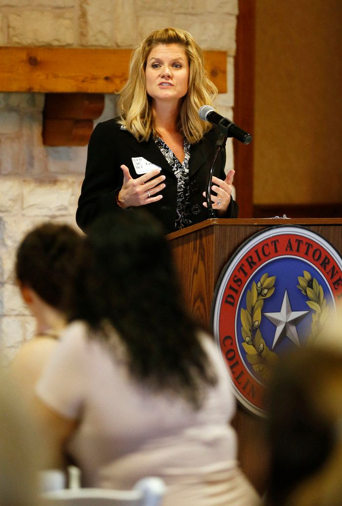 Collin County assistant district attorney Kim Laseter speaks to salon professionals during a luncheon geared to educate salon professionals about domestic violence at the Landing in McKinney on Monday, Oct. 2, 2017.