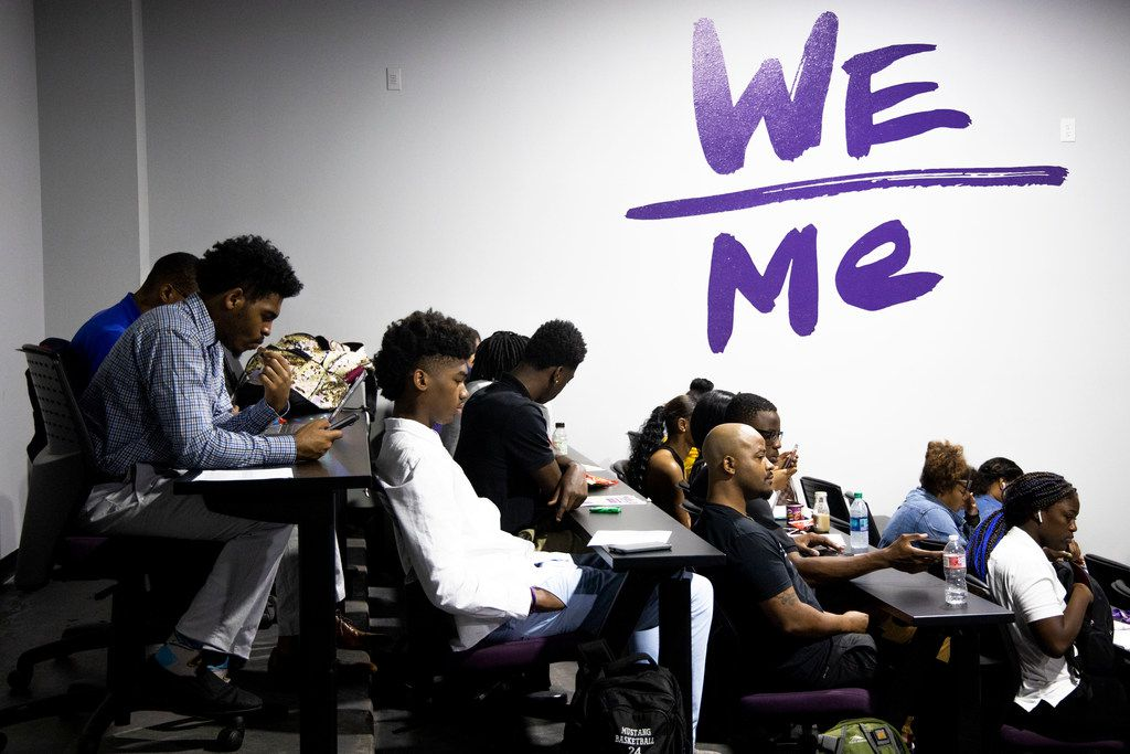 Incoming freshmen and transfer students listen during a presentation about mental health during their summer orientation at Paul Quinn College in Dallas. Paul Quinn College is focusing on student well-being by normalizing mental health discussions and offering a wide range of services through a partnership with UT Southwestern.