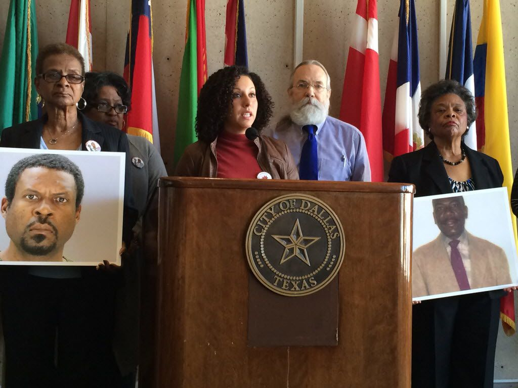 Families of men whose deaths were blamed on Dallas police held a news conference at Dallas City Hall in January 2016. Among them was Virginia Bradford (right) holding a photo of her son Fred Bradford. (Naomi Martin/Staff)