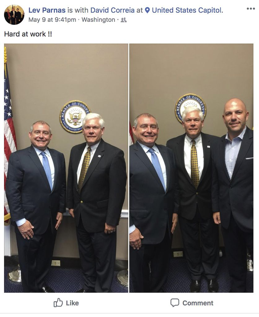 This Facebook screen shot provided by The Campaign Legal Center, shows in the left photo, Lev Parnas, left, at the U.S. Capitol with then-Rep. Pete Sessions, R-Dallas. In the right photo from left are Parnas, Sessions and David Correia. The photos were posted on May 9, 2018, the same day Sessions wrote Secretary of State Mike Pompeo urging him to terminate U.S. ambassador to Ukraine Marie Yovanovitch.  (The Campaign Legal Center via AP)