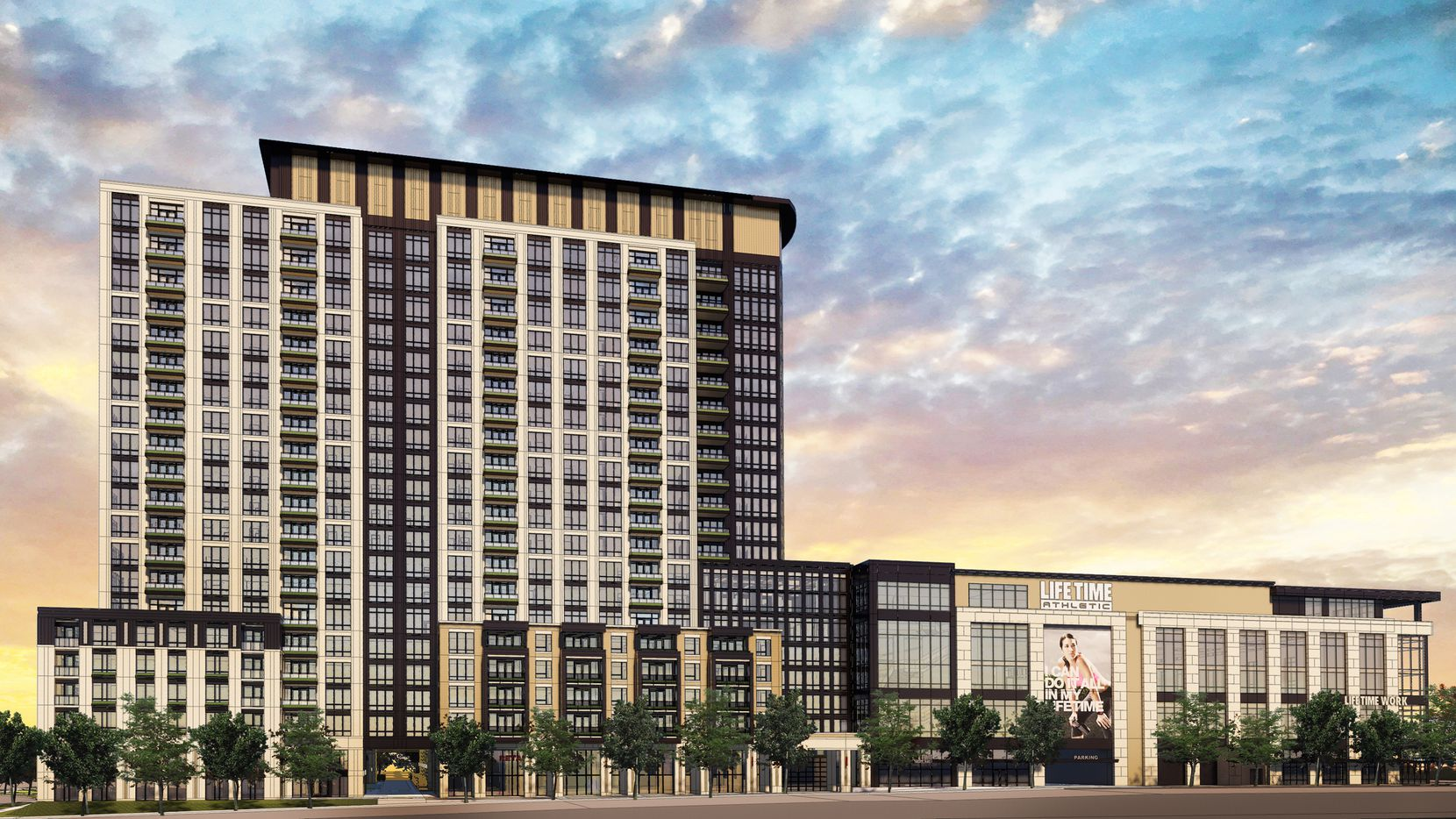 An 18-story Life Time Living tower is planned as part of the Midtown Dallas redevelopment on LBJ Freeway.