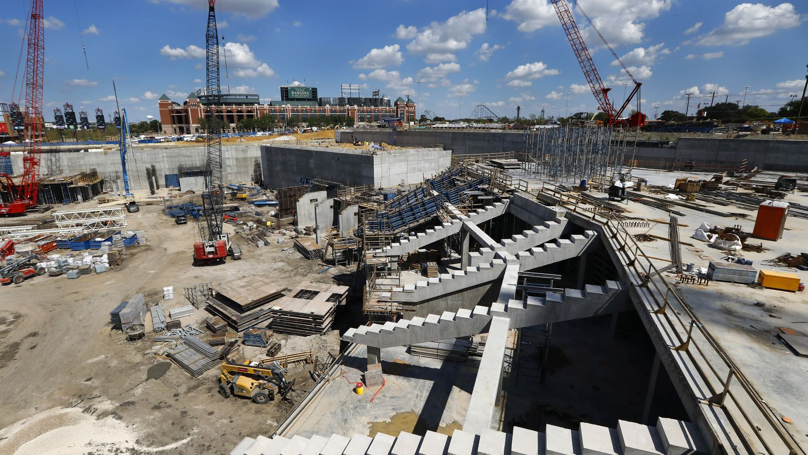 The right field seating supports were already in place in September at the new Globe Life Field under construction in Arlington. The Texas Rangers celebrated the One Million Man Hours by providing a barbecue launch for it's nearly 900 workers. Rangers baseball players joined manager Jeff Banister in handing out construction helmet stickers marking the occasion. They also signed autographs and posed for photos.
