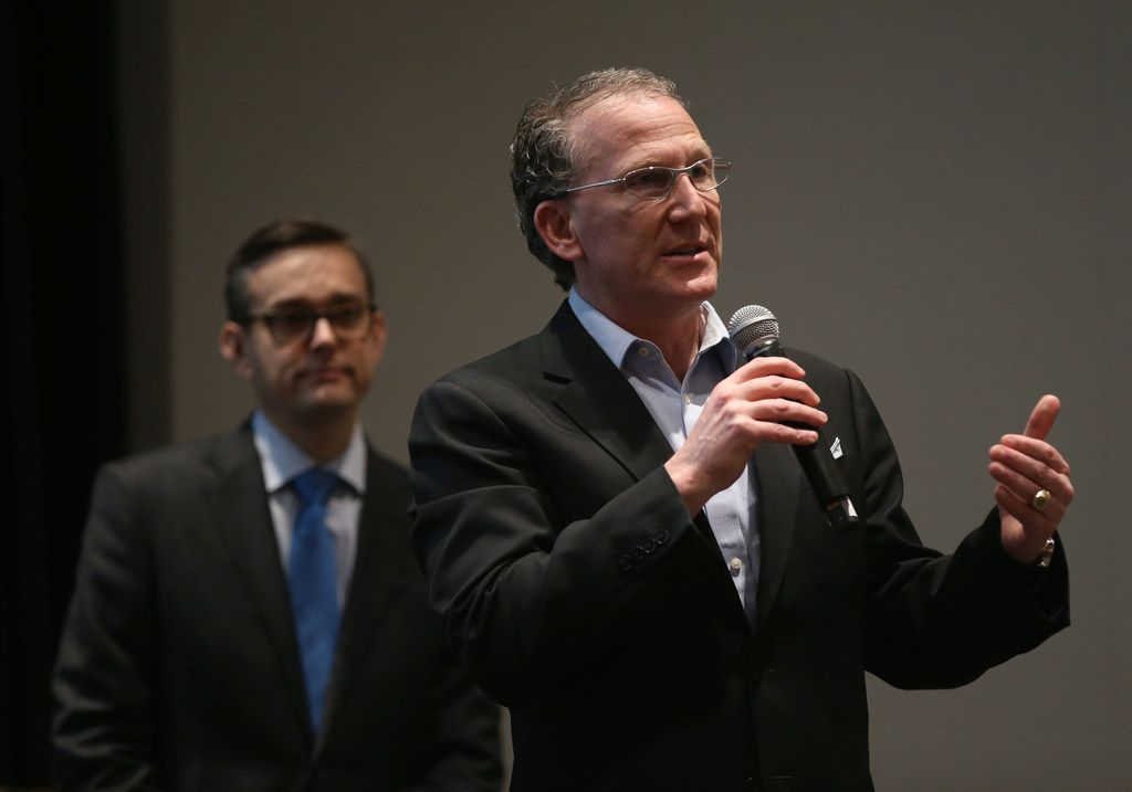 Dallas mayoral candidate Mike Ablon speaks during the Downtown Residents Council mayoral forum at The Dallas Morning News on Thursday, April 11, 2019. (Rose Baca/Staff Photographer)