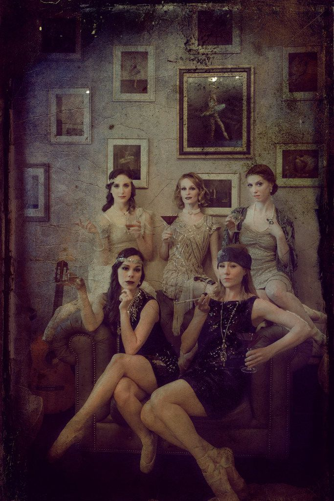 """Dallas Neo-Classical Ballet dancers dressed for the 1920s speakeasy theme of the company's season-closing show, """"Blind Tiger."""""""