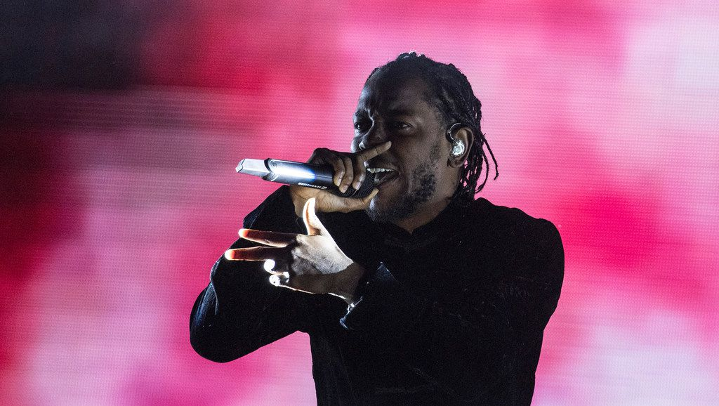 """Kendrick Lamar, on stage at the Coachella Valley Music and Arts Festival in Indio, Calif., on April 23, 2017. Lamar won the 2018 Pulitzer Prize for music for his album """"Damn."""" (Brian van der Brug/Los Angeles Times/TNS)"""