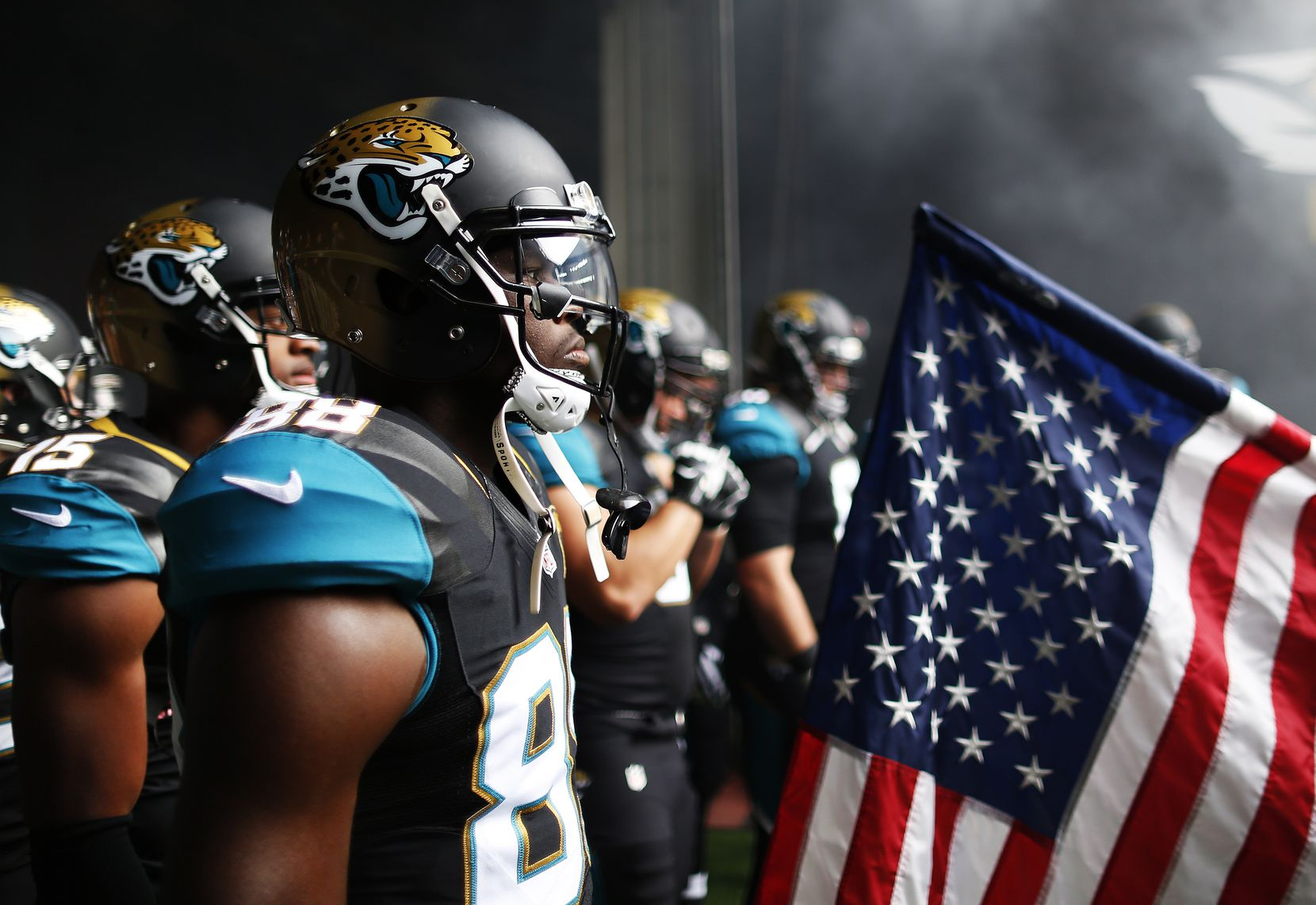 LONDON, ENGLAND - OCTOBER 25: #88 Allen Hurns of Jacksonville Jaguars waits to go onto the pitch during the NFL game between Jacksonville Jaguars and Buffalo Bills at Wembley Stadium on October 25, 2015 in London, England. (Photo by Alan Crowhurst/Getty Images)