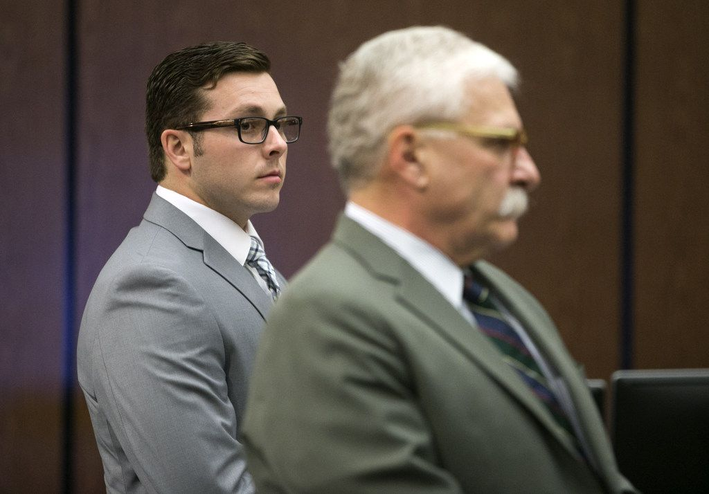 Former Mesa police Officer Philip Brailsford and his attorney, Mike Piccarreta, stand at the start of Brailsford's murder trial in Phoenix in October.