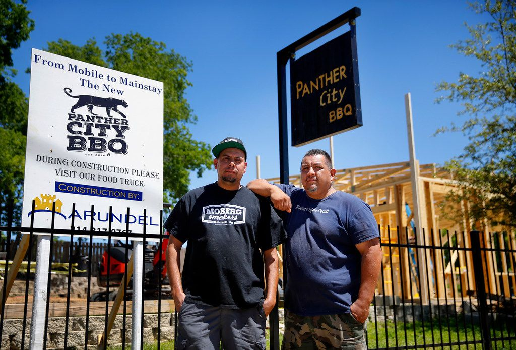Co-pitmasters Ernie Morales (left) and Chris Magallanes are building a permanent location for Panther City BBQ in a vacant lot opposite of The Republic Street Bar on Hattie St. in Fort Worth, Saturday, April 19, 2019. (Tom Fox/The Dallas Morning News)