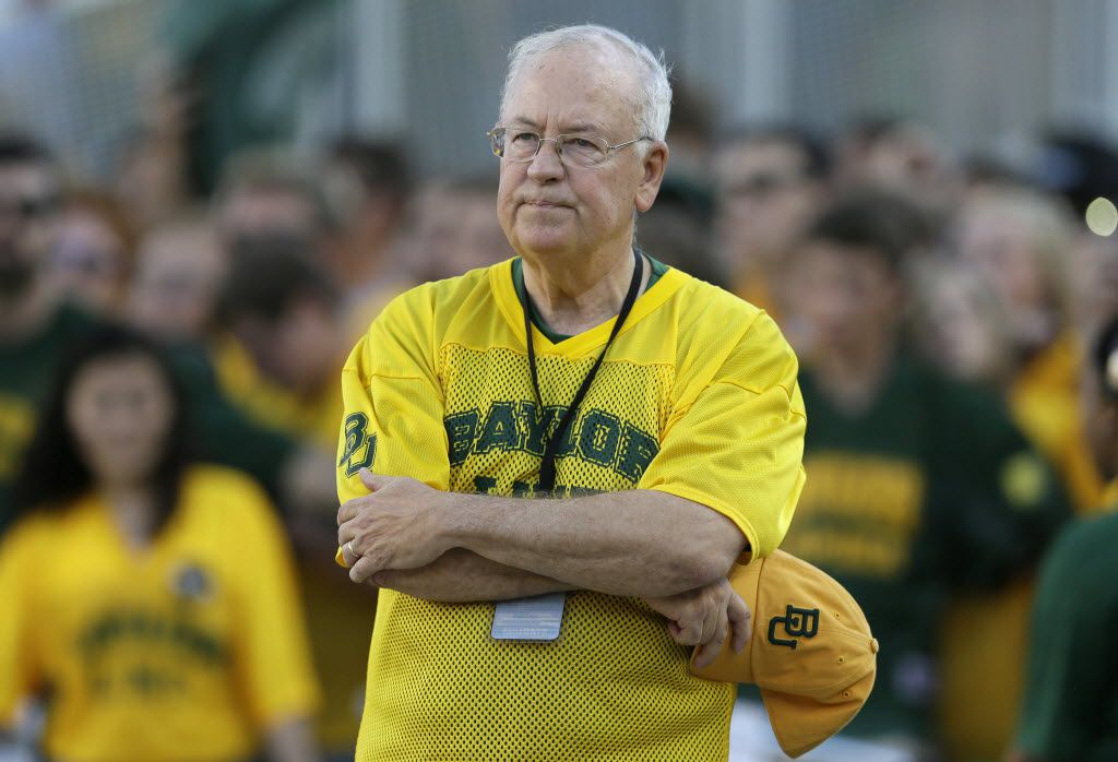 In this Sept. 12, 2015 file photo, then-Baylor President Ken Starr waits to run onto the field before an NCAA college football game in Waco, Texas.